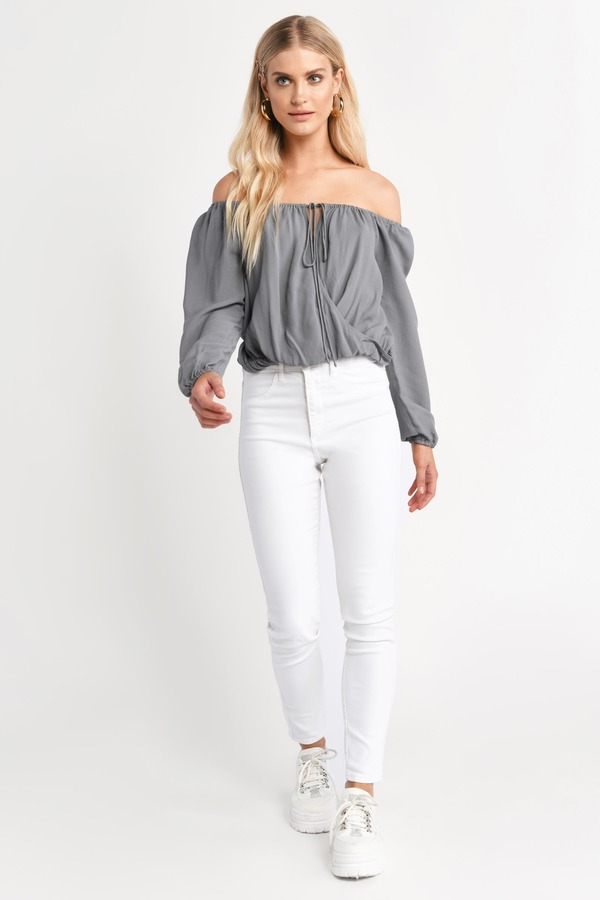 0db2afc0a13879 Cute Top - Off Shoulder Top - Long Sleeve Top - White Blouse - $58 ...