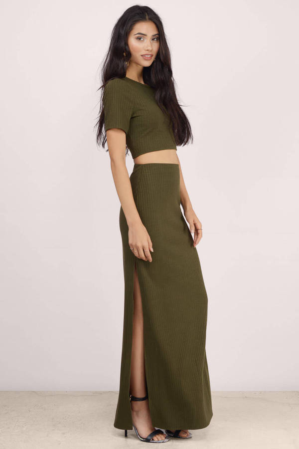 Trendy Olive Skirt - Green Skirt - Cut Out Skirt - $13.00