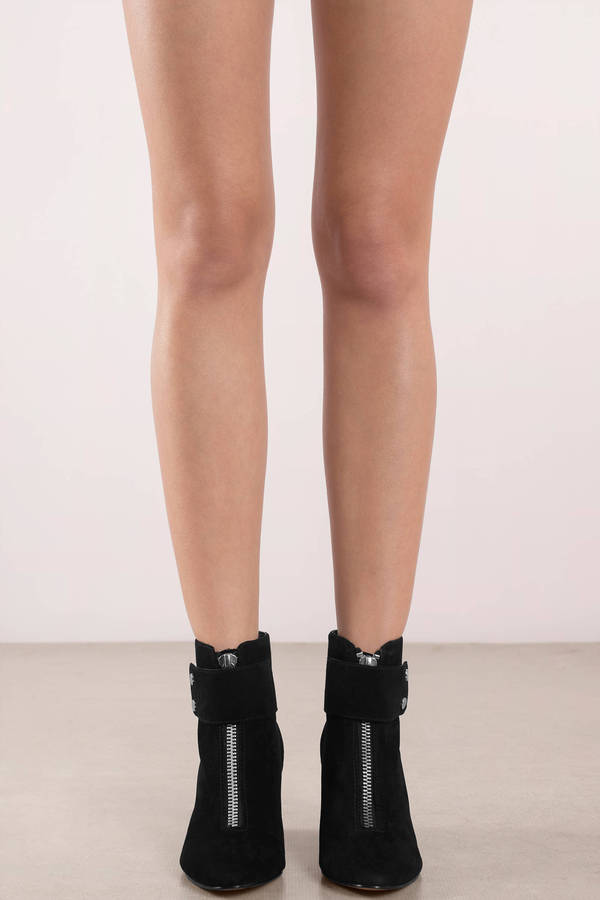 2a52434a68f Black Dolce Vita - Zip Up Suede Boots - Black Pointed Toe Boots ...