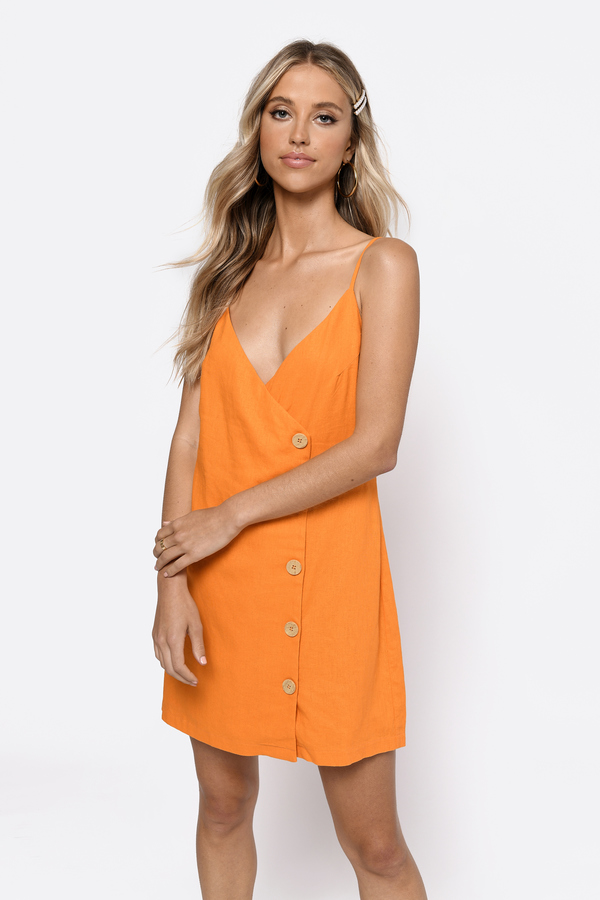 662374a5b579 ... Tobi Spring Dresses, Orange, Sweet And Tangy Button Up Shift Dress, Tobi