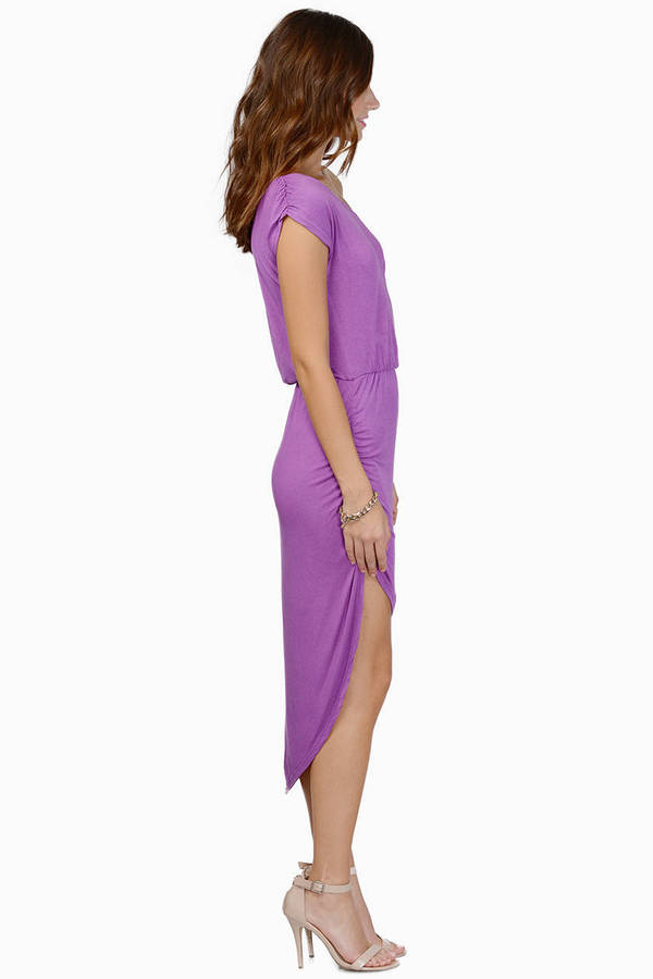 Purple Casual Dress High Low Sundress Purple