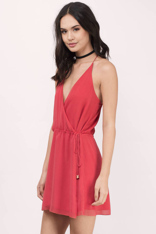 Papaya Shift Dress - Red Dress - Halter Dress - $79.00