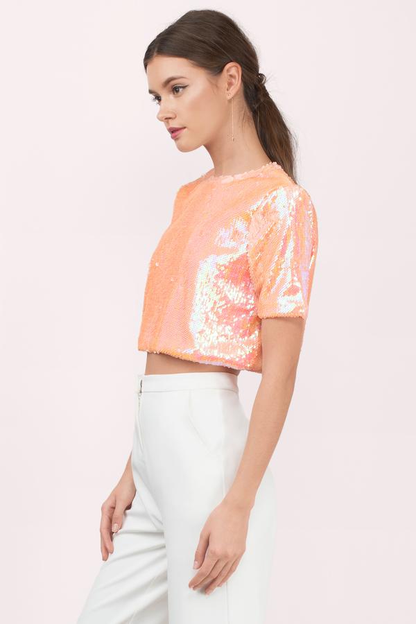 8b869ca2216130 Peach Top - Orange Top - Sequin Top - Short Sleeve Sequin Top - € 11 ...