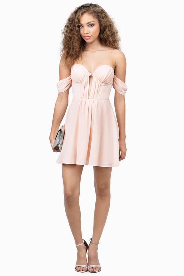 Peach Skater Dress - Off The Shoulder Dress - $15.00