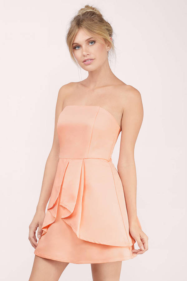 Tobi Peach Dresses Love Story Flare Dress
