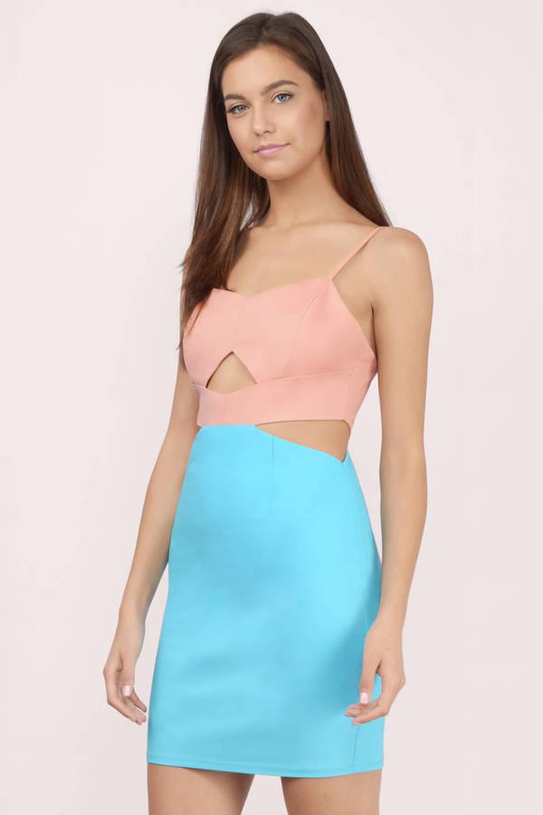 Mesh color block bodycon dress