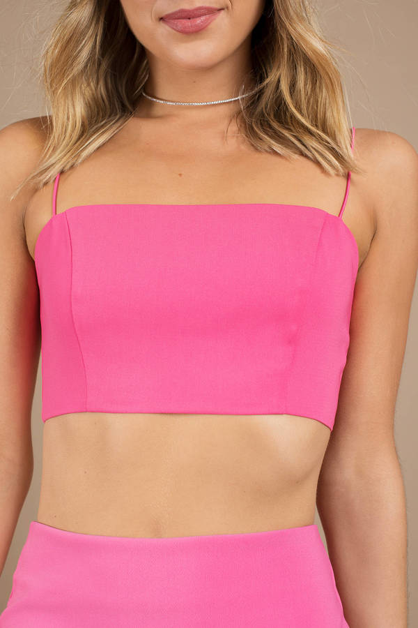 vast selection new style the cheapest Neon Pink Crop Top - Square Neck Crop Top - Neon Pink Cami Crop ...