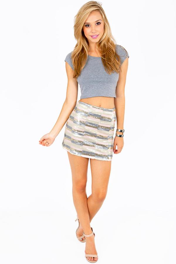 Sequin Stripes Skirt
