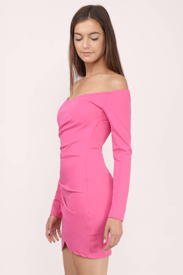 Pink Dress - Off Shoulder Dress - Bubblegum Pink Dress - Bodycon ... 80b67ecfc