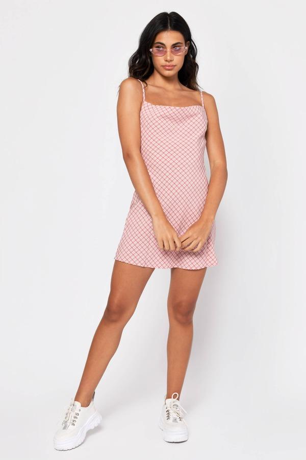 1f2555a9a423c ... Tobi New Arrivals, Pink, Picnic Date Plaid Cowl Neck Shift Dress, Tobi
