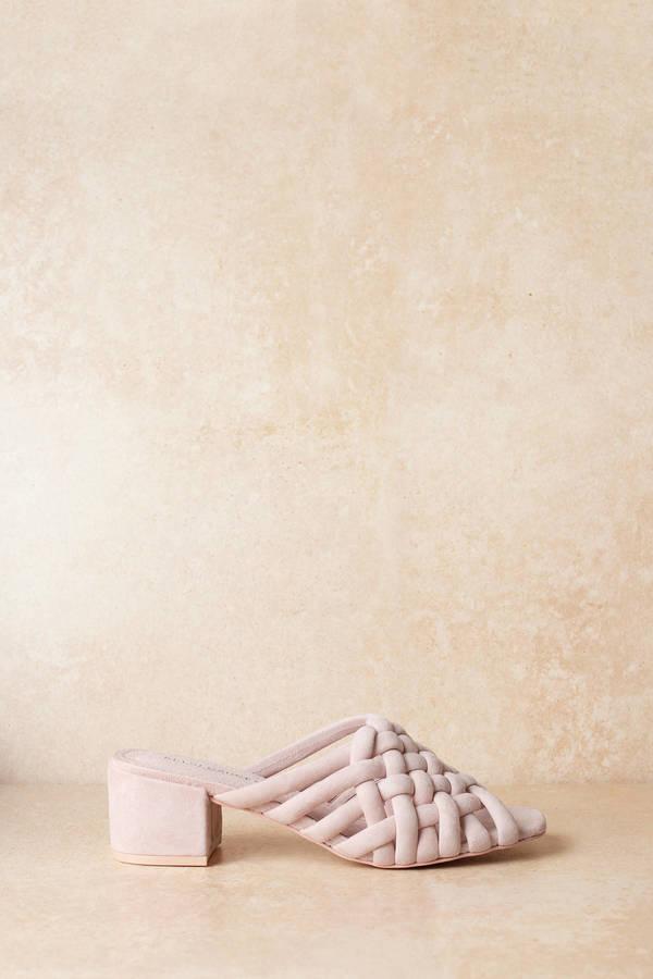86d5e8cb2424 Pink Kelsi Dagger Heels - Woven Heels - Casual Pink Heels -  84 ...