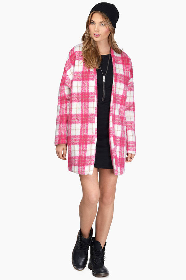 Pink & White Coat - Pink Coat - Wool Coat - Plaid Overcoat - $27 ...