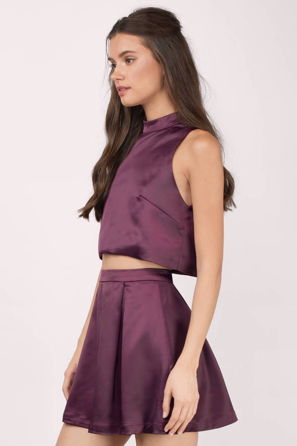 b59cbb7c6509 Purple Skater Dress - Two Piece Set - High Neck Pleated Dress -  72 ...