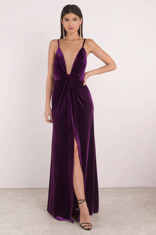 Layla Plum Plunging Velvet Maxi Dress