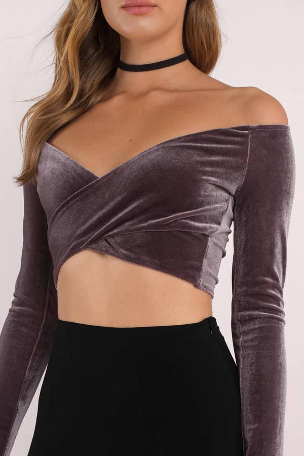 43caf733d93367 Purple Crop Top - Velvet Wrap Top - Purple Formal Crop Top -  10 ...