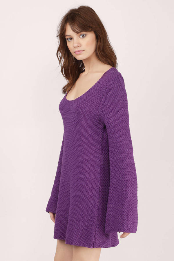 French Connection Women's Sweeter Sweater Long Sleeved Mini Dress, Deepest Purple, Our long sleeve sweeter sweater mini dress is the perfect essential for your fall wardrobe. It is a great layering piece because of its simple, body-hugging shape. Pair with sneakers if you're on the run more.