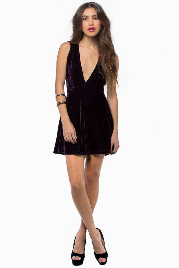Dark and Deep V Velour Dress