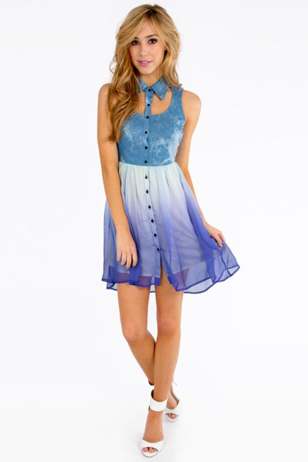 Denim Rainbow Bottom Dress