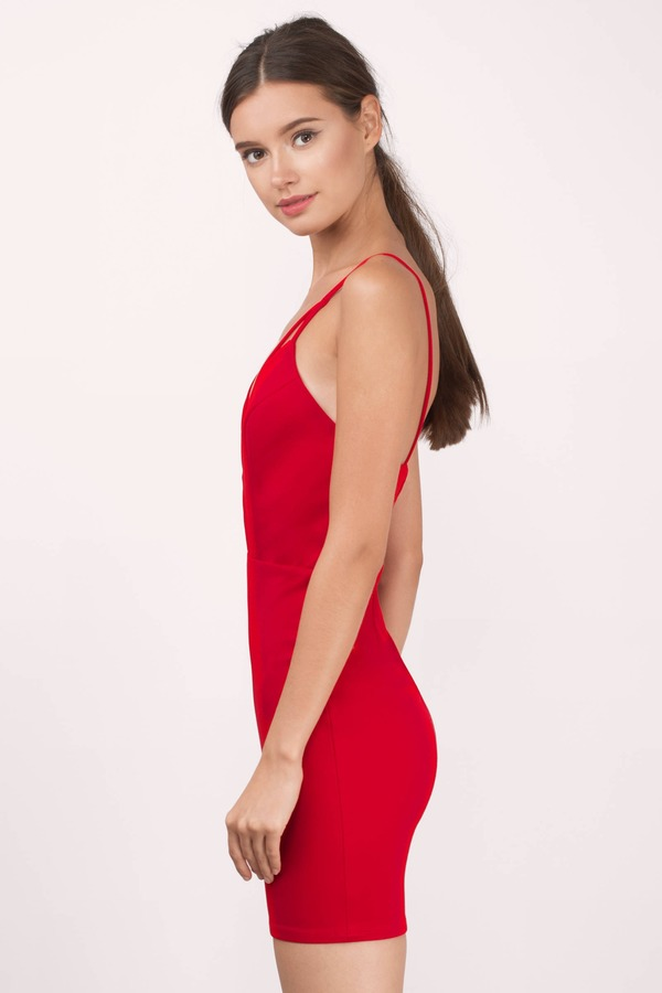 ... Red, Alesha Cut Out Bodycon Dress, Tobi