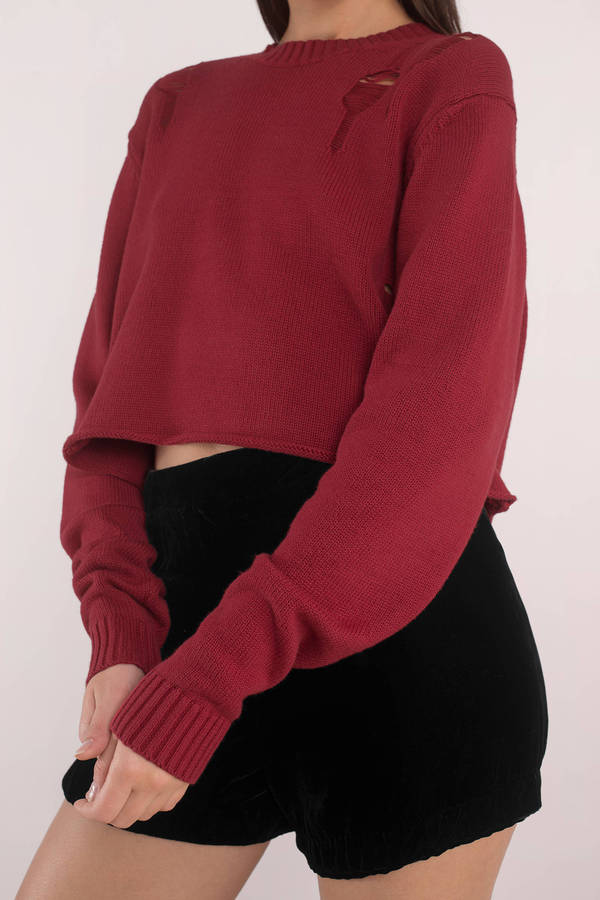 Cristina Red Distressed Crop Sweater Cristina Red Distressed Crop Sweater