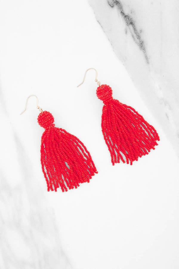 Dance With Me Red Beaded Tel Earrings