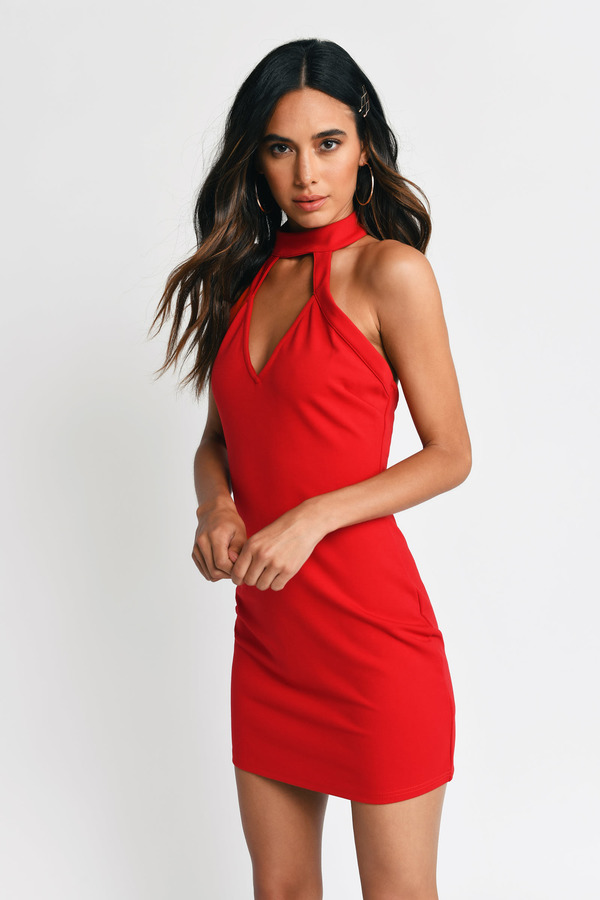 Red Bodycon Dress - Red Dress - Backless Dress - $58.00