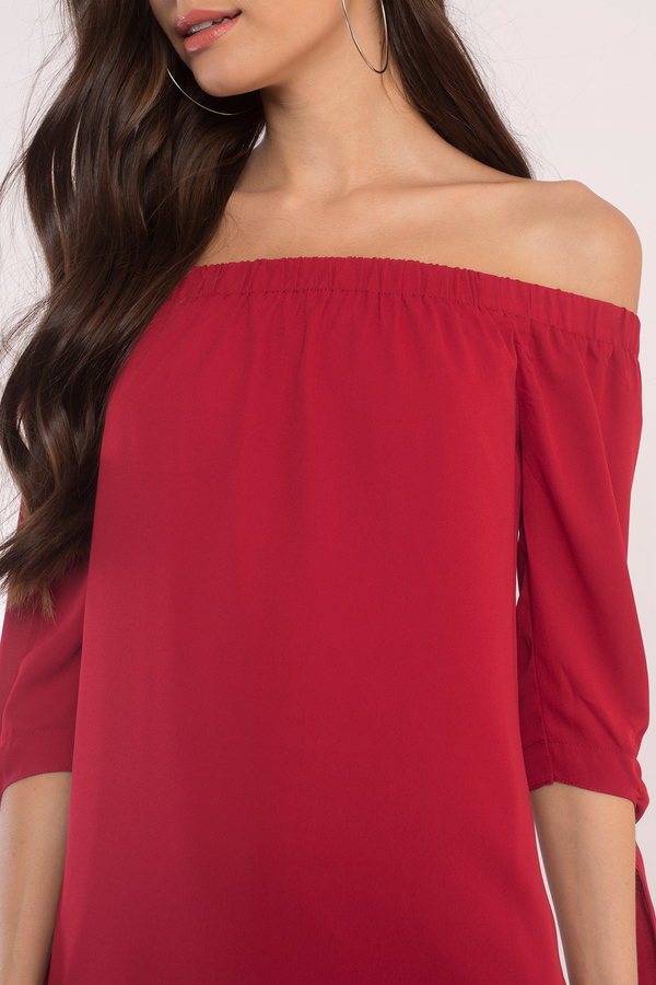 Cute Red Shift Dress - Off The Shoulder Dress - $56.00