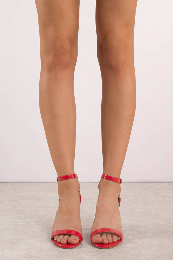 Mia Red Patent Leather Ankle Strap Heels | Tobi
