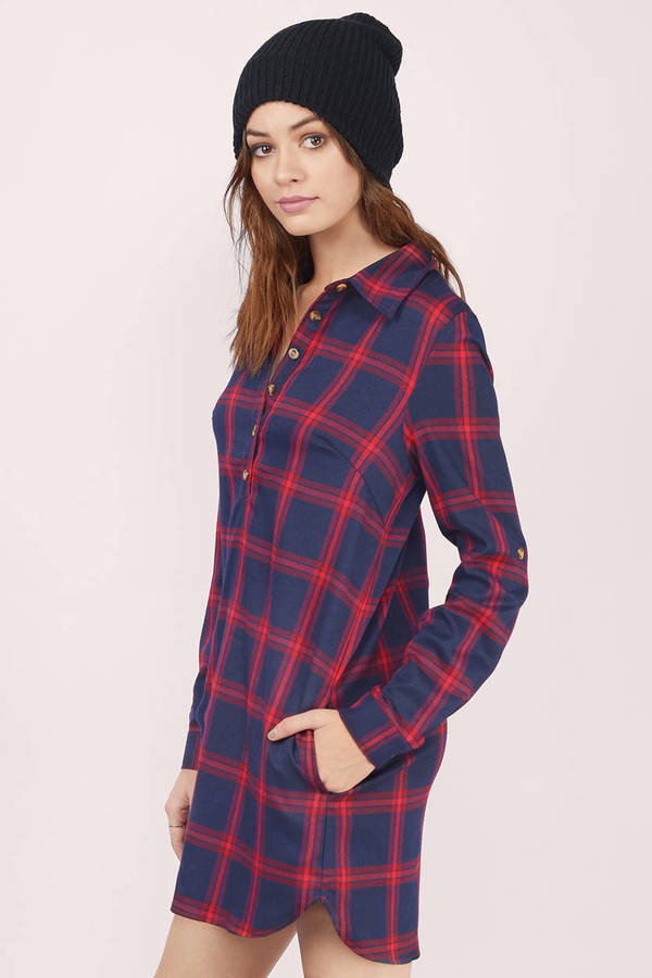 Cute Red Multi Shift Dress - Checkered Print Dress - Shift Dress ...