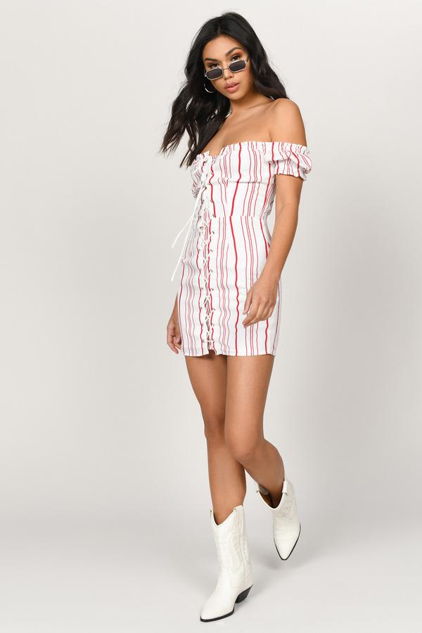 ba6671eead ... Tobi Summer Dresses, Red, Nikki Off Shoulder Shift Dress, Tobi