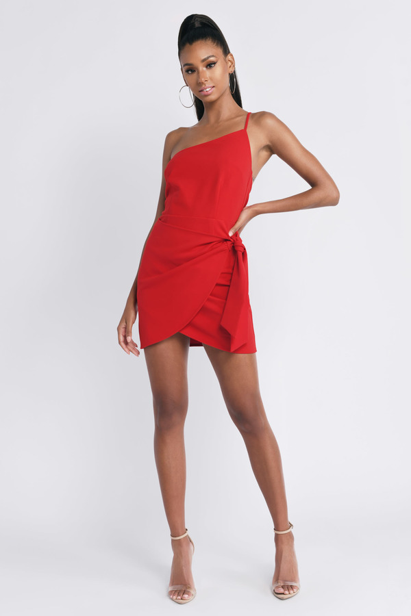 bbc4466ba6f09 Red Bodycon Dress - Tie Dress - Red Wrap Dress - Stunning Red Dress ...
