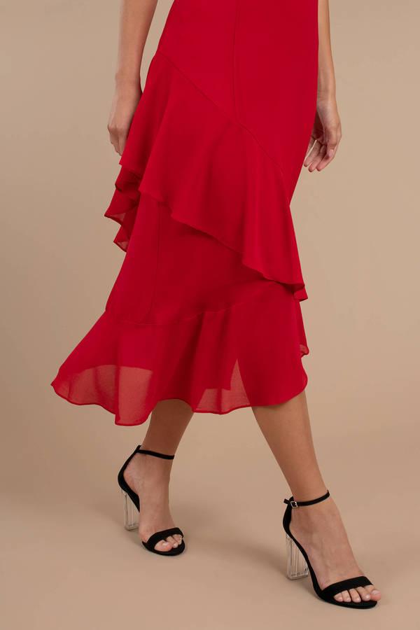 3cbc3630ad0 Selena Red Ruffle Midi Dress Selena Red Ruffle Midi Dress ...