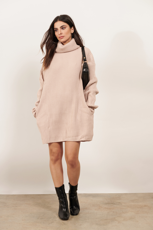 30c7c16f4a Pink Casual Dress - Sweater Dress - Pink Turtleneck Dress -  35 ...