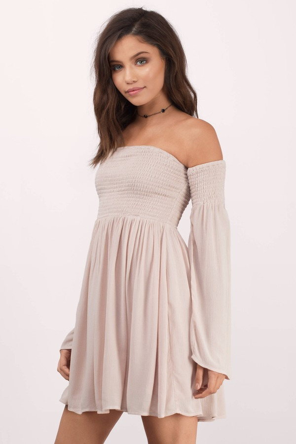 Cute Rose Skater Dress - Off Shoulder Dress - Skater Dress - $74