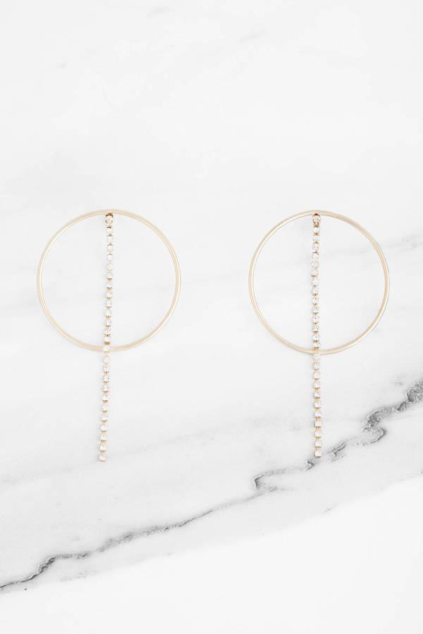 Clarissa Rose Gold Rhinestone Hoop Earrings