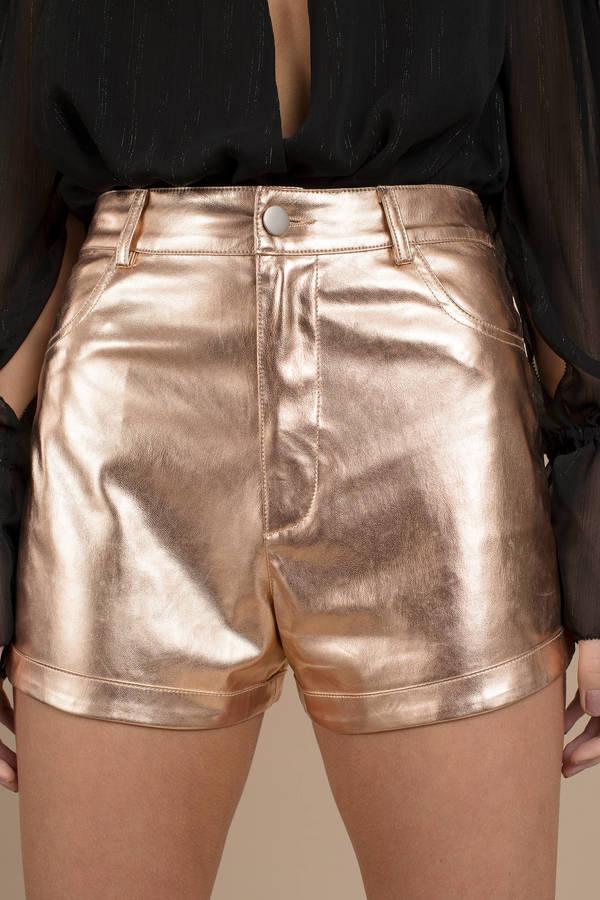 Eno Metallic Faux Leather Shorts