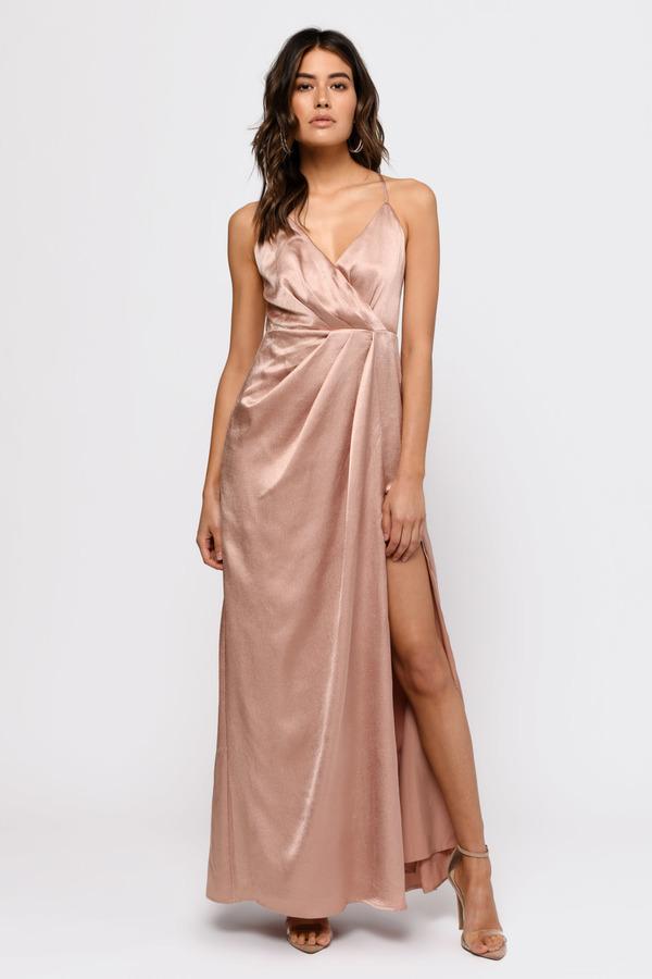 ad9202c4 Rose Gold Maxi Dress - High Slit Maxi Dress - Rose Gold Satin Dress ...