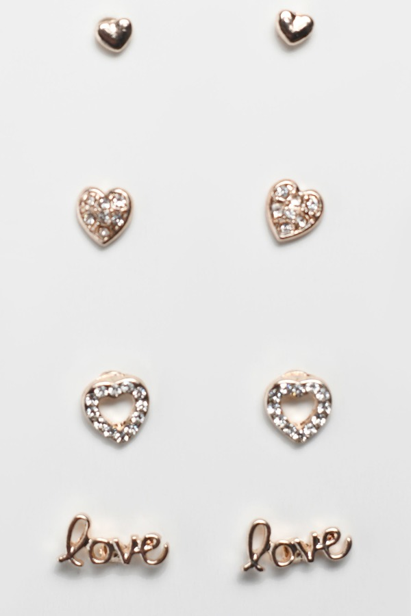 Love Season Rose Gold Stud Earring Set