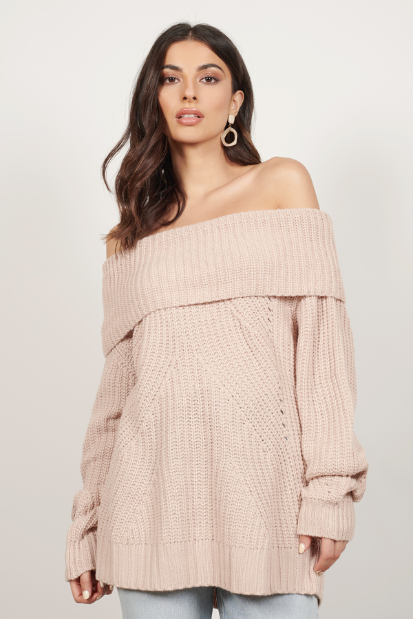 f9a17929c8689 Comfy Pink Sweater - Off The Shoulder Sweater - Pink Boho Sweater ...