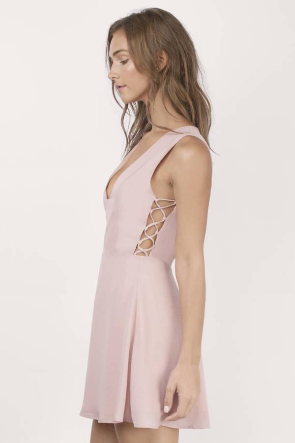 Cheap Rose Skater Dress - Pink Dress - Flowy Dress - $26.00