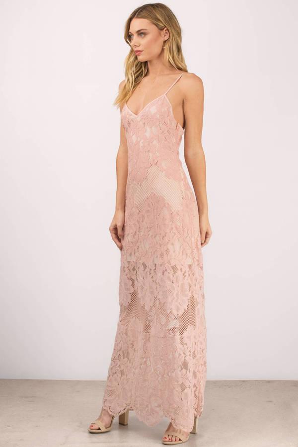 Rose Maxi Dress Scalloped Dress Pink Dress