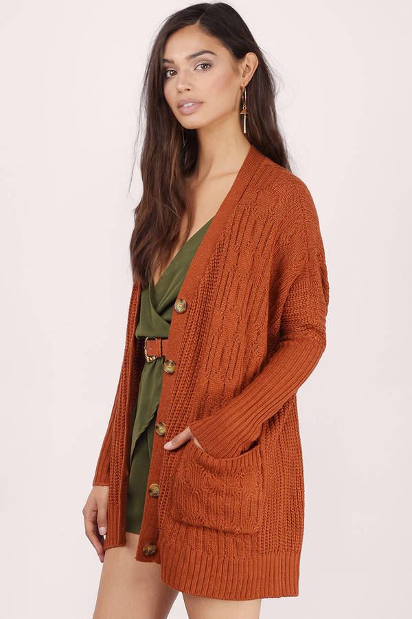 Rust Cardigan - Red Cardigan - Oversized Cardigan - Button Up ...