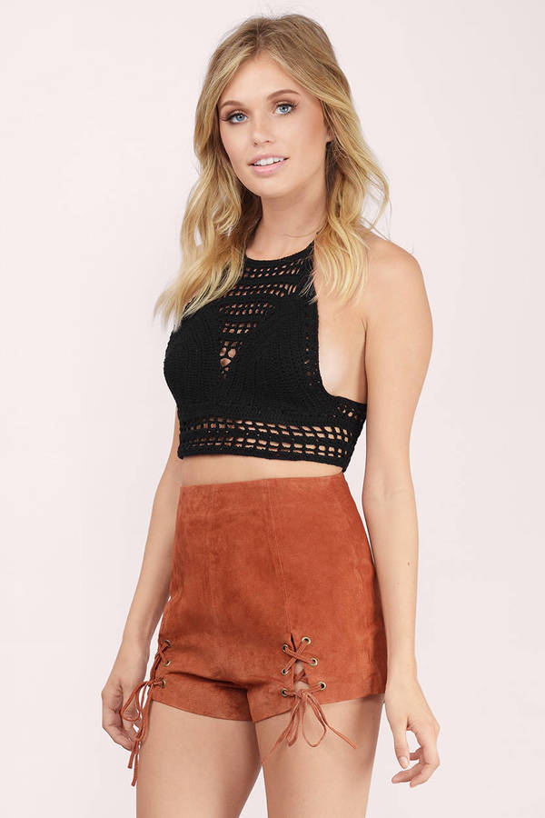 Rust Shorts - Front Slit Shorts - Suede Shorts - Rust Bottoms - $23.00