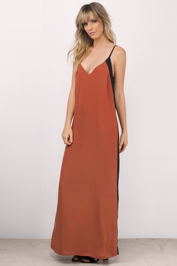 Rust Maxi Dress - Colorblock Dress - Orange Dress - Country Maxi ...