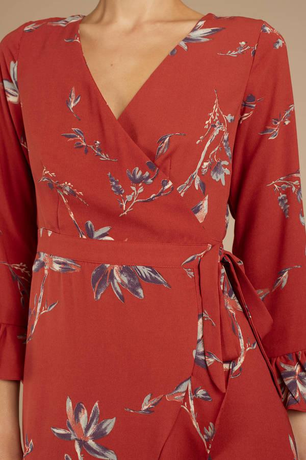 217327804a82 Wanderlust Rust Floral Wrap Dress Wanderlust Rust Floral Wrap Dress ...