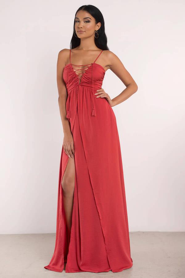 Sexy Maxi Dress - Lace Up Dress - Elegant Red Dress - Red Maxi ...