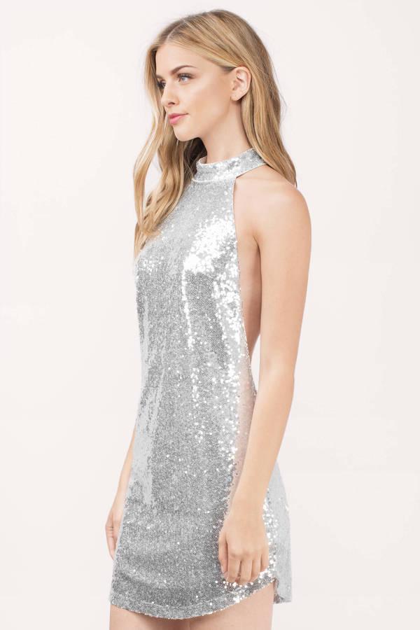 ec232341e6758 Silver Shift Dress - Silver Dress - High Neck Dress - Silver Shift ...