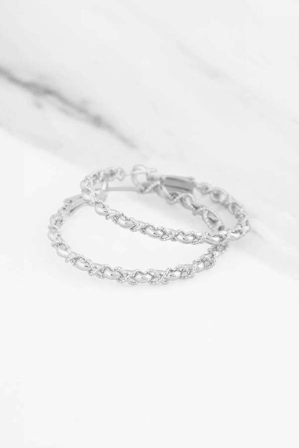 Wonderful Swirl Me Around Silver Hoop Earrings - $10 | Tobi US YR51