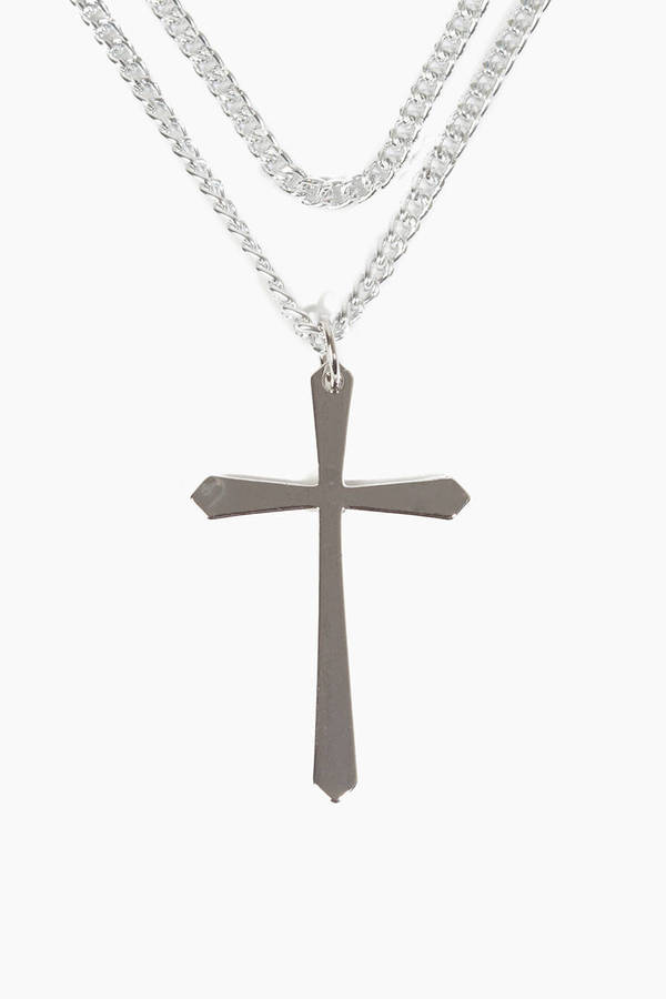 Triple Chain Cross Necklace