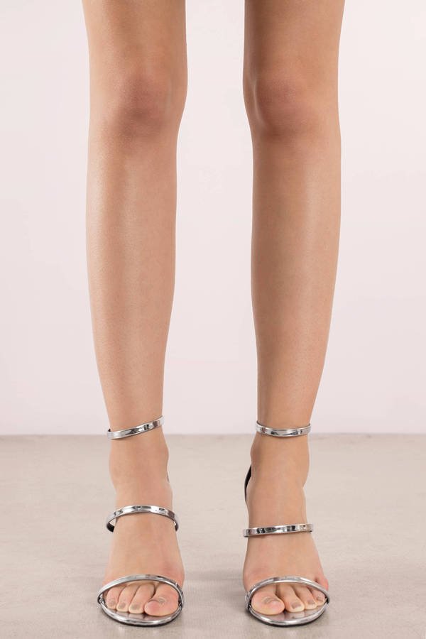 Silver Heel Sandals - Silver Block Heels - Pretty Silver Heels | Tobi